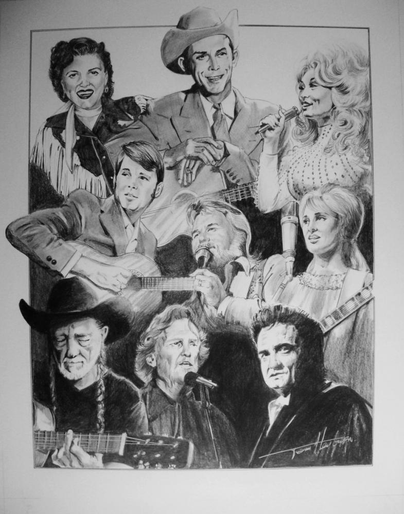 Patsy Cline, Hank Williams, Dolly Parton, Tammy Wynette, Kenny Rogers, Glen Campbell, Willie Nelson, Kris Kristofferson, Johnny Cash par Tom-Heyburn